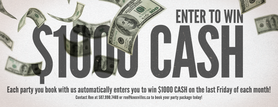 Win Cash for Booking Parties at Knoxvilles